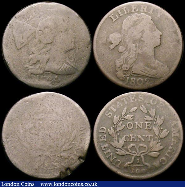 USA One Cent (3) 1794 Breen 1669 Fair/Poor, the reverse with three heavy edge knocks, 1802 Stemless wreath 10 Berries, Breen 1750 Fair/VG, 1822 divided date Breen 1816 NEF the obverse with some heavier contact marks : World Coins : Auction 163 : Lot 2185