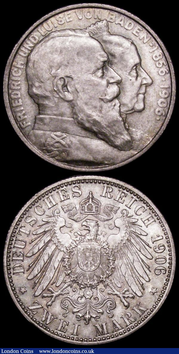 German States - Baden 2 Marks (2) 1902 Friedrich I 50th Year of Reign KM#271, 1906 Friedrich I Golden Wedding Anniversary KM#276 both Unc or near so : World Coins : Auction 163 : Lot 2446
