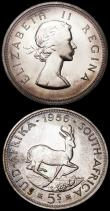London Coins : A163 : Lot 2537 : South Africa Five Shillings 1948 Prooflike KM#40.1 UNC and almost fully lustrous, with a few small t...