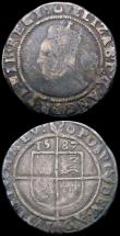 London Coins : A163 : Lot 358 : Sixpences Elizabeth I (2) 1587 Sixth Issue, ELIZAB legend, S.2578A mintmark Crescent VG/NF grey tone...