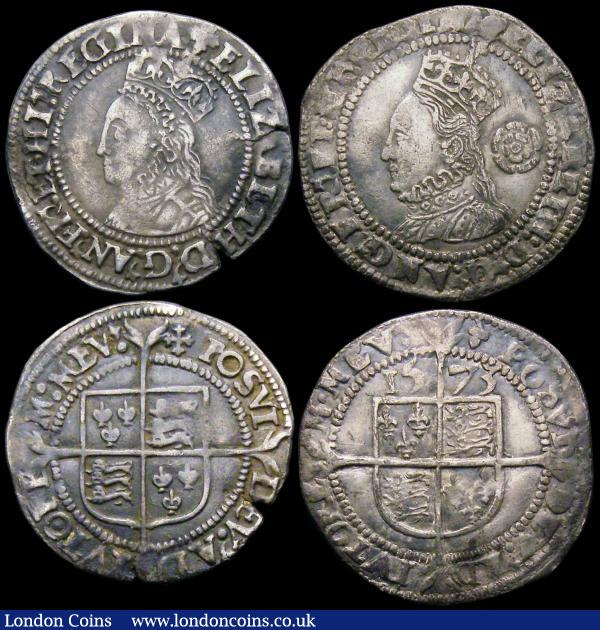 Threepence Elizabeth I 1573 Taller Bust S.2566 mintmark Acorn, VF, Halfgroat Elizabeth I Second Issue S.2557 mintmark Cross Crosslet, NVF with a flan crack after ELIZ, and an edge nick after BETH, Penny Elizabeth I Second Issue S.2558 mintmark Cross Crosslet, Good Fine on a slightly mis-shapen flan : Hammered Coins : Auction 163 : Lot 369