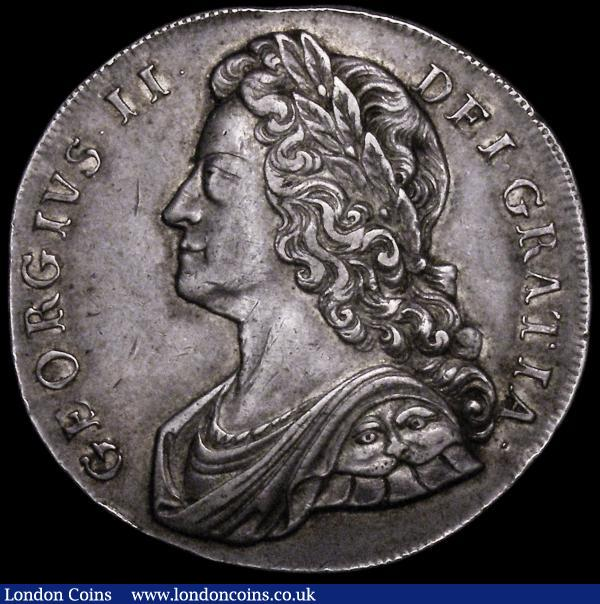 Crown 1732 Roses and Plumes ESC 117, Bull 1660 NEF the obverse with some contact marks and a gentle edge bruise, the edge slightly indented at the top of the obverse, close inspection shows this to have occurred during the minting of the coin : English Coins : Auction 163 : Lot 391