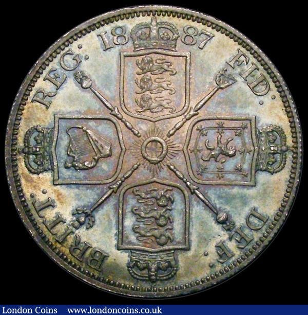 Double Florin 1887 Roman 1 ESC 394 UNC with blue, green and gold toning, a superb example, in an LCGS holder and graded 82 and the finest of 38 examples graded by CGS desirable thus : English Coins : Auction 163 : Lot 438