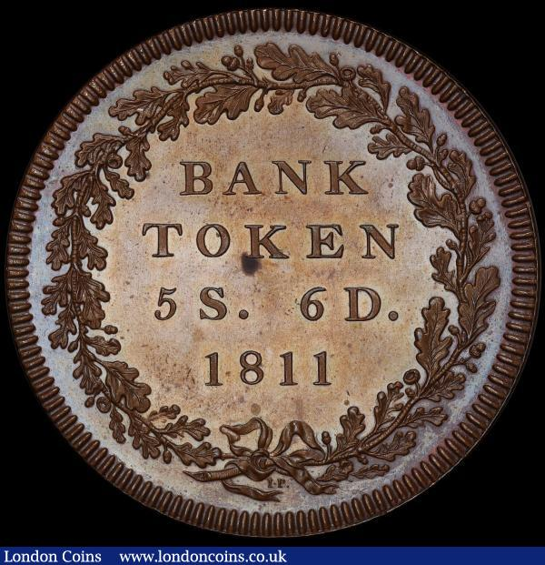 Five Shilling and Sixpence Bank Token 1811 ESC 206 Pattern in copper Davies 37, FDC and graded PR64BN by PCGS and in their holder : English Coins : Auction 163 : Lot 468
