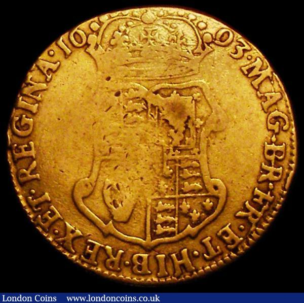 Guinea 1693 S.3426 VG with a weak area on the top left of the shield : English Coins : Auction 163 : Lot 496