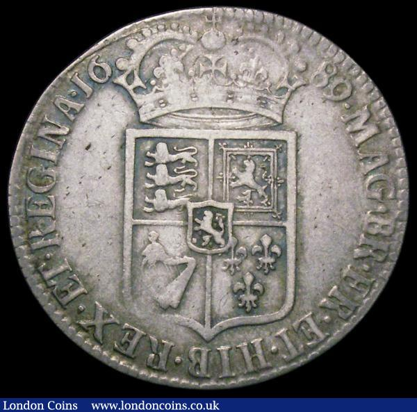 Halfcrown 1689 No frosting, pearls ESC 507, Bull 835 Good Fine/Fine : English Coins : Auction 163 : Lot 568
