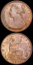 London Coins : A163 : Lot 694 : Halfpennies (3) 1861 Freeman 277 dies 6+G AU/GEF and nicely toned, 1861 Freeman 282 dies 7+G UNC wit...