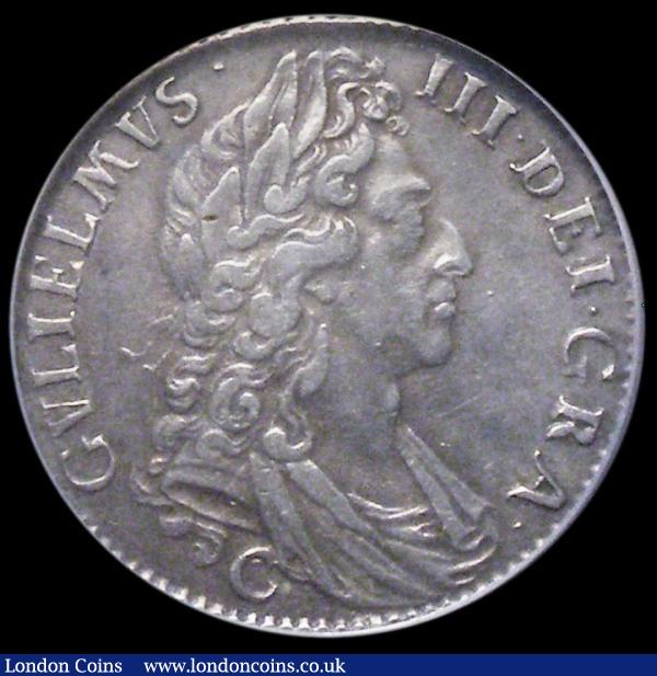 Shilling 1697C Third Bust ESC 1104, Bull 1175, Good VF and with an attractive grey tone, in an LCGS holder and graded LCGS 50 : English Coins : Auction 163 : Lot 800