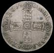 London Coins : A163 : Lot 801 : Shilling 1702 Plain below bust, plain in angles ESC 1128, Bull 1385 Nearer VF than Fine, nicely tone...