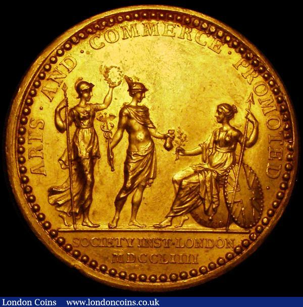 Royal Society of Arms, Mercury and Minerva Medal 1796 44mm diameter in gold by T.Pingo, Britannia seated left is conferred with honours by Mercury and Minerva standing before her, ARTS. AND. COMMERCE. PROMOTED.  Exergue: SOCIETY INST. LONDON MDCCLIIII, Reverse:- TO Mr. RICHARD MOYLE MDCCXCVI / LAND GAINED FROM THE SEA Class 133. No.CCXXIII EF, Rare, The prize was award to Richard Moyle for his work in land drainage and reservoir systems in Penzance, Cornwall : Medals : Auction 163 : Lot 84