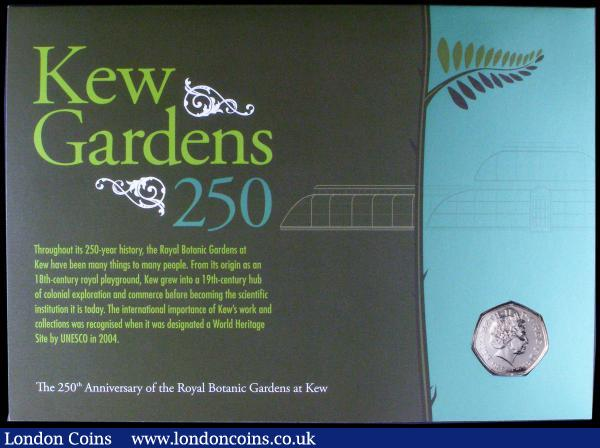 Numismatic First Day cover 2009 comprising Fifty Pence 2009 Kew Gardens 250th Anniversary Brilliant UNC, and set of 4 stamps, 2x First class and 2x90 Pence, UNC on the envelope of issue  : English Cased : Auction 164 : Lot 110