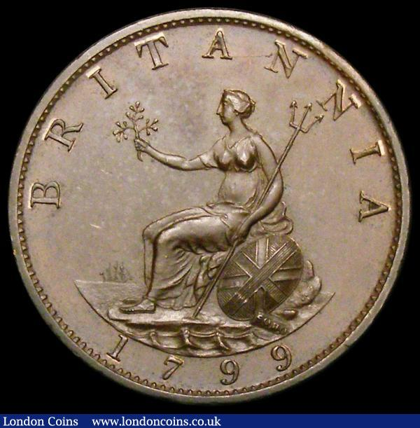 Halfpenny 1799 Pattern in Bronzed Copper KH18 Peck 1244, About UNC and nicely toned : English Coins : Auction 164 : Lot 1156