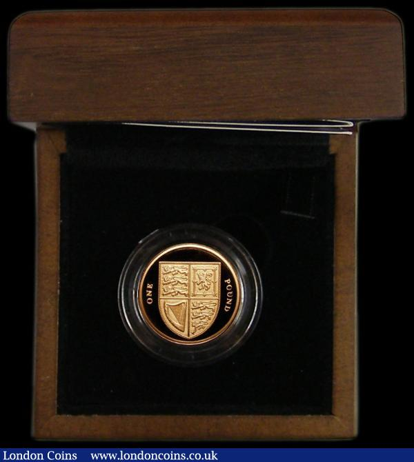 One Pound 2008 Royal Shield of Arms Gold Proof S.J27 FDC in the Royal Mint box of issue with the certificate hand-signed by the designer Matthew Dent and a copy of the letter from the Royal Mint as confirmation : English Cased : Auction 164 : Lot 118