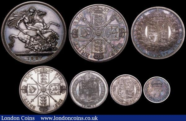 Proof Set 1887 Silver Set (7 coins) Crown, Double Florin (Arabic 1), Halfcrown, Florin, Shilling, Sixpence and Threepence UNC to nFDC attractively toned, and retaining considerable original mint brilliance, in a modern blue presentation box : English Cased : Auction 164 : Lot 126