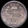 London Coins : A164 : Lot 1345 : Sixpence 1869 ESC 1720, Bull 3219, Die Number 14 Choice UNC with aa pleasing blue tone, in an LCGS h...