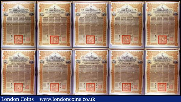 China, Chinese Government 1913 Reorganisation Gold Loan, 10 x bonds for £20, Hong Kong & Shanghai Bank issues, vignettes of Mercury and Chinese scenes, black & brown with coupons Fine to VF some with pencil or ink annotations : Bonds and Shares : Auction 164 : Lot 15