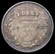 London Coins : A164 : Lot 1520 : Threepence 1893 Jubilee Head ESC 103, Bull 3443 VF/GVF and with a pleasing tone, Rare