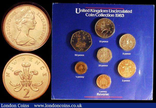 Royal Mint 'Heinz' Year Set 1983 a 7-coin set includes the mule Two Pence Spink 4236A with 'NEW PENCE' reverse legend, UNC in the original wallet of issue : English Cased : Auction 164 : Lot 159