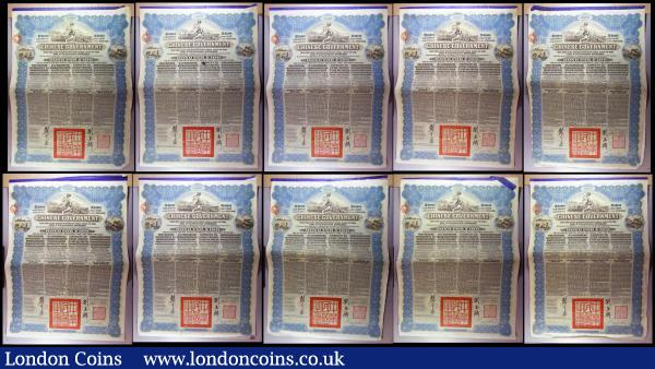 China, Chinese Government 1913 Reorganisation Gold Loan, 10 x bonds for £100 Hong Kong & Shanghai Bank issues, vignettes of Mercury and Chinese scenes, black & blue, with coupons. Generally Fine to  Good Fine with pencil annotations : Bonds and Shares : Auction 164 : Lot 2
