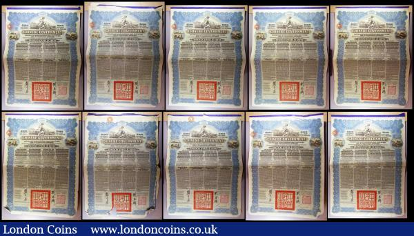 China, Chinese Government 1913 Reorganisation Gold Loan, 10 x bonds for £100 Hong Kong & Shanghai Bank issues, vignettes of Mercury and Chinese scenes, black & blue, with coupons. Generally Fine to Good Fine with pencil annotations : Bonds and Shares : Auction 164 : Lot 3