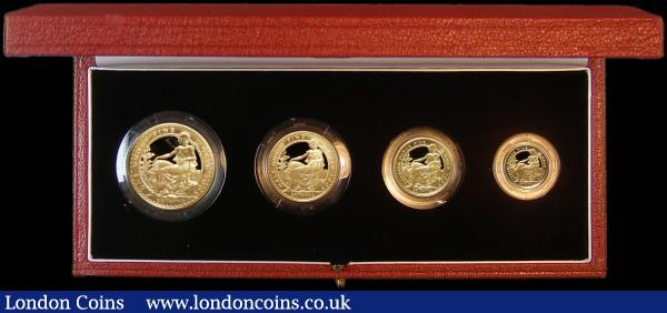 Britannia Gold Proof Set 2005 the 4-coin set comprising £100 One Ounce, £50 Pounds Half Ounce, £25 Quarter Ounce, and £10 One Tenth Ounce S.PBG25 FDC in the Royal Mint box of issue with certificate : English Cased : Auction 164 : Lot 36