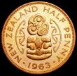 London Coins : A164 : Lot 474 : New Zealand Halfpenny 1963 VIP Proof/Proof of record KM#23.2 UNC/nFDC with some contact marks, retai...