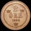 London Coins : A164 : Lot 512 : Sweden 2 Ore 1890 90 over 89 KM#746 EF and nicely toned, Rare with Krause listing at $200 EF and $43...