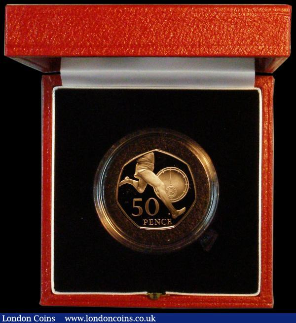 Fifty Pence 2004 50th Anniversary of the First 4-Minute Mile Gold Proof S.H13 FDC in the Royal Mint box of issue with certificate : English Cased : Auction 164 : Lot 60