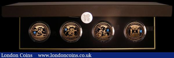 Five Pound Crowns a 4-coin set Countdown to the London 2012 Olympic Games S.OGS9, comprising 2009 S.4920, 2010 S.4921, 2011 S.4922 and 2012 S.4923 all Gold Proofs with the blue Olympic logo, FDC in the Royal Mint box of issue with all certificates, the box with some wear to the edges : English Cased : Auction 164 : Lot 93