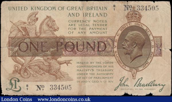 One Pound Bradbury T16a issued 1918 series B/1 334505, a rare Admiralty Anchor note with small anchor under clock tower on reverse, Good - VG a very collectable example of this very rare note which is missing from most collections : English Banknotes : Auction 165 : Lot 10
