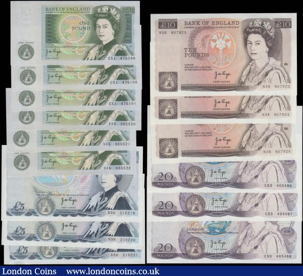 Bank of England Page 1 Pounds to 20 Pounds QE2 pictorial issues (15) each denomination in consecutive sets/pairs and all in high grades : English Banknotes : Auction 165 : Lot 106