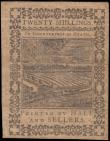 London Coins : A165 : Lot 1074 : USA Obsolete Notes, Pennsylvania Colonial Currency 20 Shillings FR#PA-169 dated 1st October 1773 pri...