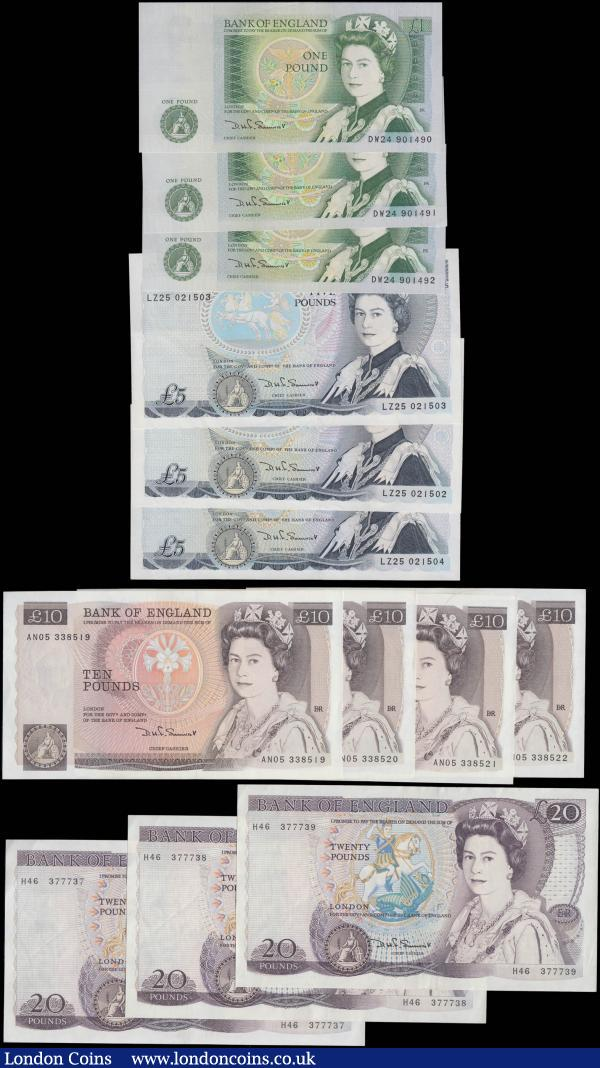 Bank of England Somerset 1 Pounds to 20 Pounds QE2 pictorial issues (13) each denomination in consecutive sets/pairs, the Five Pounds LAST series prefix LZ25 and all in very high grades : English Banknotes : Auction 165 : Lot 109