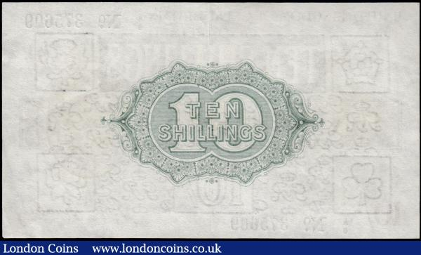 Ten Shillings Bradbury T17 Dot in No. issue 1918 series A6 375609 EF to GEF : English Banknotes : Auction 165 : Lot 11