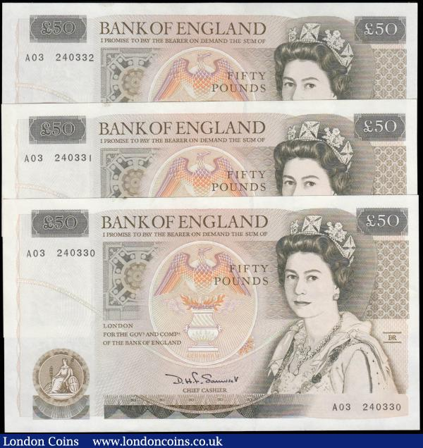 Fifty Pounds Somerset QE2 pictorial & Sir Christopher Wren B352 issues 1981 (3) a consecutive trio series A03 240330 - A03 240332 GEF - about UNC : English Banknotes : Auction 165 : Lot 114