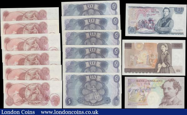 Bank of England (15) a mixed group in various circulated grades VF to about UNC comprising Ten Shillings Fforde (6) prefixes C25N, C97N, C97N, C25N and a last run series D38N 549306. Five Pounds Fforde issues 1967 (2) B312 first series R99 408255 and B314 series 59D 086211. Five Pounds Hollom B297 issues 1963 (2) series H88 860212 and J84 125650. Five Pounds Page (3) B324 issued 1971 (2) first series 78C 889523 & 97C 689651 along with B332 The Duke of Wellington issue 1971 first series A24 049720. Ten Pounds Gill  B354 Florence Nightingale issue 1988 last series JR22 803967. Ten Pounds Kentfield B366 Charles Dickens issue 1992 series A05 561901 : English Banknotes : Auction 165 : Lot 115
