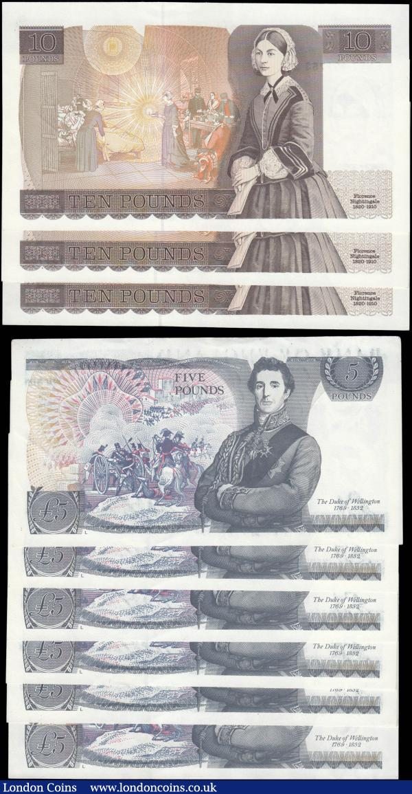 Bank of England Gill Five and Ten Pounds QE2 pictorial issues 1988 (9) the Five Pounds LAST series consecutive set prefix SE68 and the Ten Pounds a consecutive trio prefix EN57. High grades GEF - about UNC : English Banknotes : Auction 165 : Lot 116