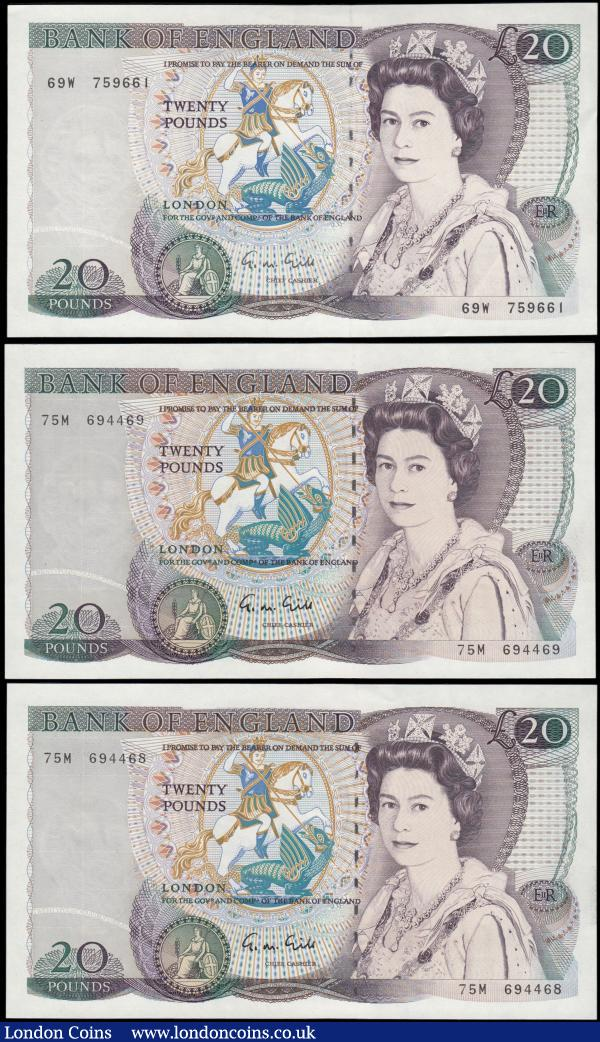 Twenty Pounds Gill QE2 pictorial & William Shakespeare B355  issue 1988 (3) comprises a consecutive pair series 75M 694468 & 75M 694469 about UNC - UNC along with series 69W 759661 GEF : English Banknotes : Auction 165 : Lot 118