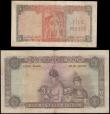 London Coins : A165 : Lot 1192 : Ceylon QE2 portrait 16th October 1954 issues (2) comprising 100 Rupees Pick 53 series V/29 86344 bro...