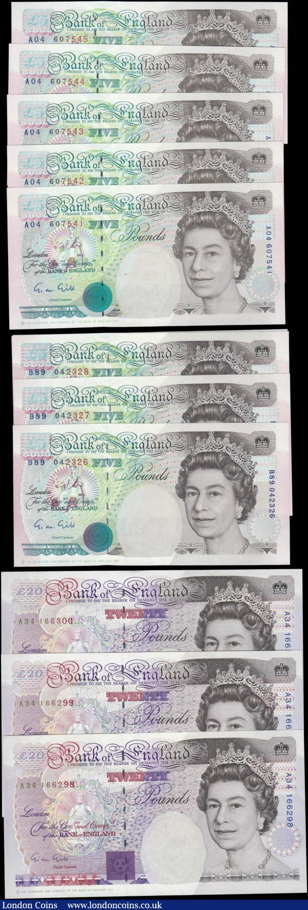 Bank of England Somerset 5 and 20 Pounds QE2 issues 1990 (12) the Five Pounds in 2 consecutive sets prefixes A04 & B89 and the 20 Pounds a consecutive trio prefix A34. All in  very high grades to about UNC - UNC : English Banknotes : Auction 165 : Lot 120