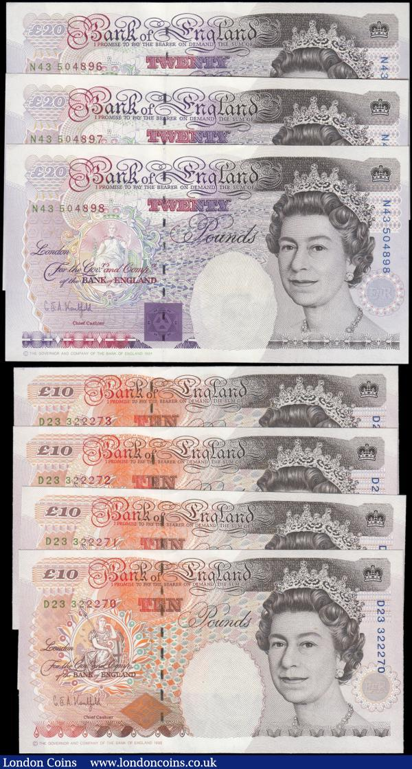 Bank of England Kentfield (7) a group of 2 consecutively numbered sets comprising Ten Pounds QE2 & Charles Dickens B366 issue 1992 (4) series D23 322270 through D23 32273 and Twenty Pounds QE2 & Michael Faraday B371 issue 1991 (3) series N43 504896 through N43 504898. All about UNC - UNC : English Banknotes : Auction 165 : Lot 122