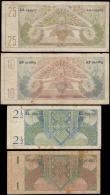 London Coins : A165 : Lot 1244 : Netherlands New Guinea (4) early issues 1 Gulden Pick 11a series AR052857 green and brown, 2 1/2 Gul...