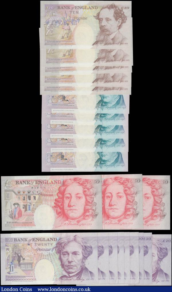 Bank of England Kentfield 5, 10, 20 and 50 Pounds QE2 issues (23) each denomination in consecutive sets and all in  very high grades to about UNC - UNC : English Banknotes : Auction 165 : Lot 126