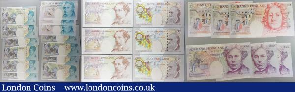 Bank of England Lowther 5, 10, 20 and 50 Pounds QE2 issues (25) each denomination in consecutive sets, the 20 Pounds FIRST RUN LOW numbers DA01 000735 - DA01 000737 and the 5 and 10 Pounds include the 2 different designs. All in  very high grades to about UNC - UNC : English Banknotes : Auction 165 : Lot 128