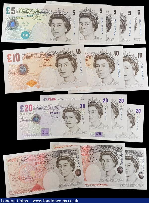 Bank of England Bailey 5, 10, 20 and 50 Pounds QE2 issues (15) each denomination in consecutive sets and All in  very high grades to about UNC - UNC : English Banknotes : Auction 165 : Lot 130