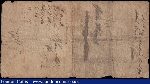 Cheltenham & Winscombe Bank, Cheltenham One Pound dated 1st August 1818 No. G325 For Thos. Fisher & Thos. Ashmore entered & signed W.H. Coopers and signed Thos. Fisher, ( Outing 487a ), some staining, small holes across design and a few edge nicks Good to about VG and Rare : English Banknotes : Auction 165 : Lot 139