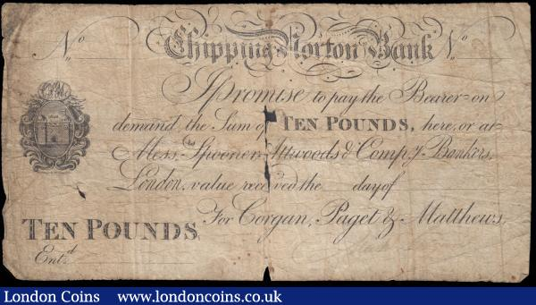 Chipping Norton Bank, OXFORDSHIRE Ten Pounds, unissued & unentered ND 1800's, castle vignette, For Gorgan, Padget & Matthews, Outing 543c about VG small holes at centre and 1 at centre left, some blue residue on reverse but an interesting piece since still signed by Gorgan but unissued and unentered : English Banknotes : Auction 165 : Lot 141