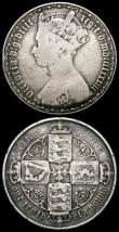 London Coins : A165 : Lot 1447 : Mint Error - Mis-strike Florin Reverse brockage Fine or better, along with Florin 1883 VG/Near Fine