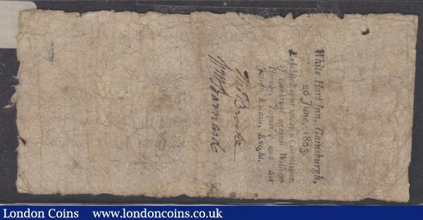 Gainsborough Bank One Guinea dated 1802 for Wm Hornby & Josh.Esdaile from M. Rilley, signed Wm. Hornby, (Outing 811a) bankruptcy stamp reverse, VG to about Fine tear to right edge and a small hole to top left, scarce  : English Banknotes : Auction 165 : Lot 145