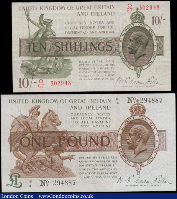 Treasury Warren Fisher Second Issues (2) comprising Ten Shillings T30 Red No. omitted issue 1922 series O67 302948 VF or near so. Along with One Pound T31 Ireland in title Dot in No. issue 1923 last series R1/4 294887 pressed EF : English Banknotes : Auction 165 : Lot 16